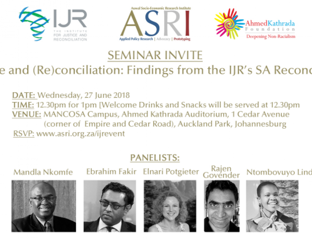 Seminar – Reflections on Race and Reconciliation: Findings from SA Reconciliaton Barometer