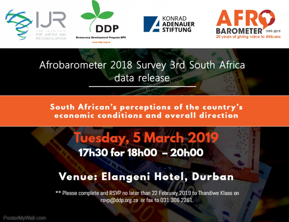 Afrobarometer 2018 survey 3rd South Africa data release