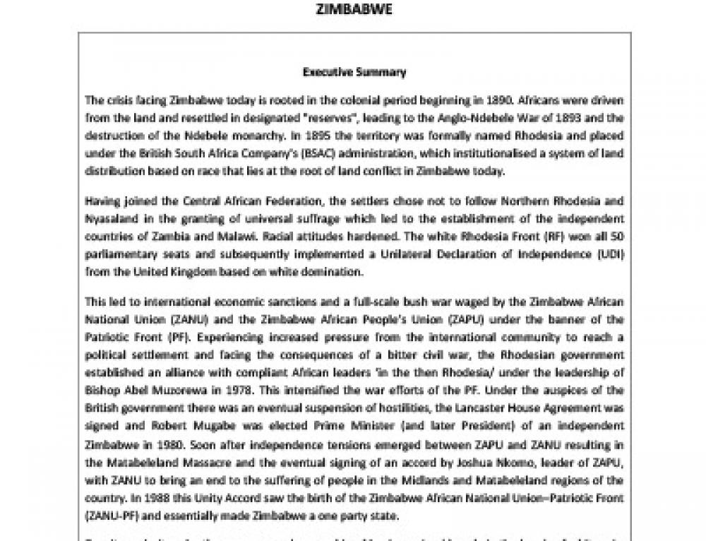 IJR Zimbabwe Country Profile