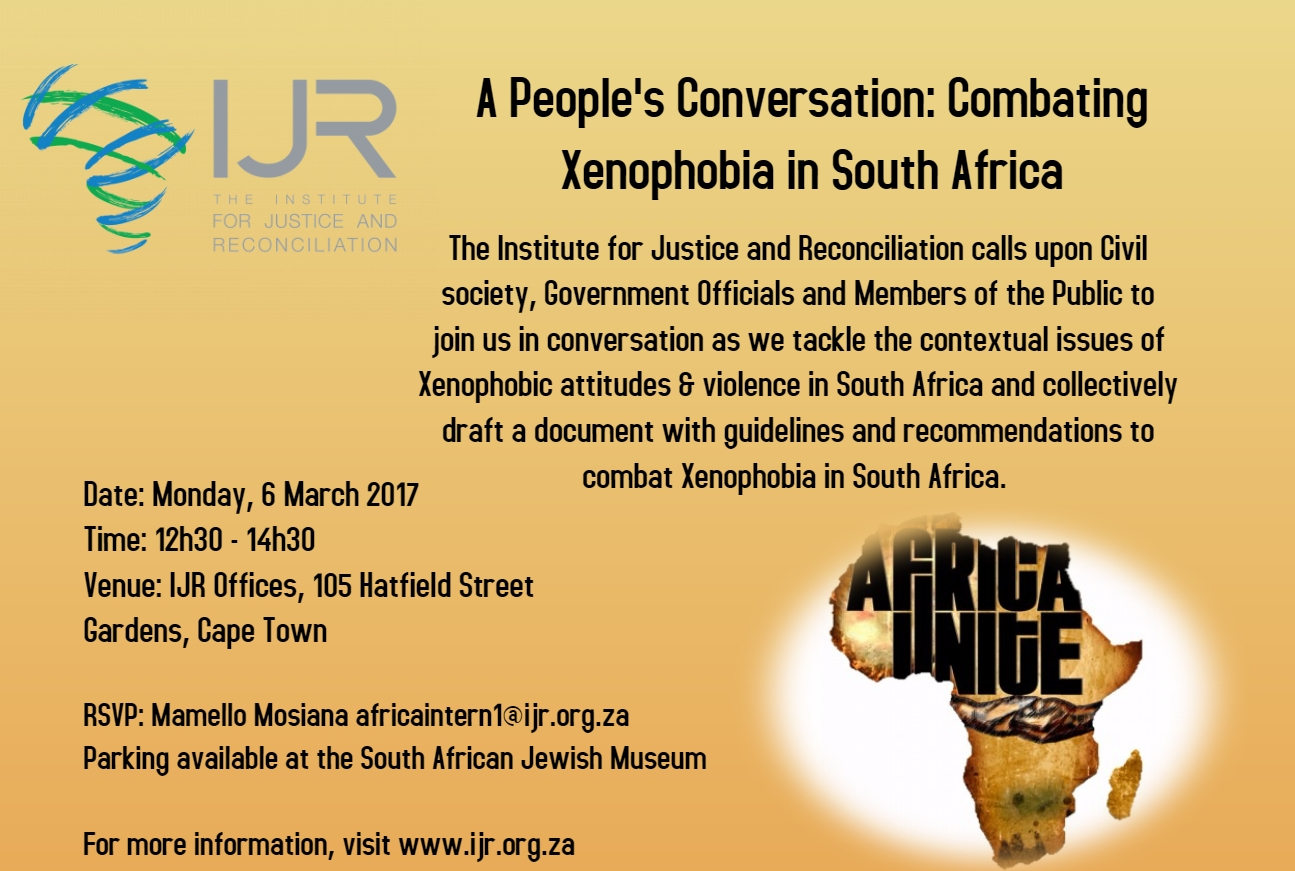 Invitation a peoples conversation combating xenophobia in sa ijr invitation a peoples conversation combating xenophobia in sa stopboris Choice Image