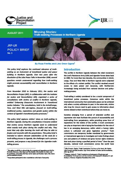 Missing Stories: Truth-seeking Processes in Northern Uganda