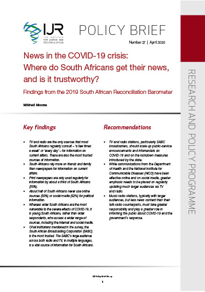 IJR Policy Brief 27: News in the COVID-19 crisis