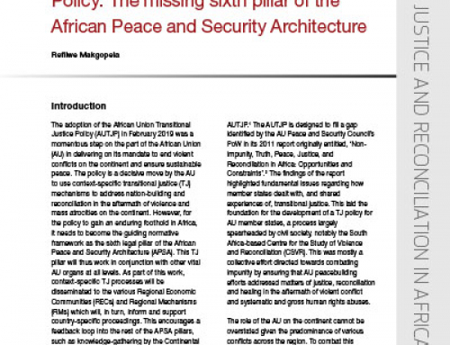 IJR Policy Brief 28: The African Union Transitional Justice Policy