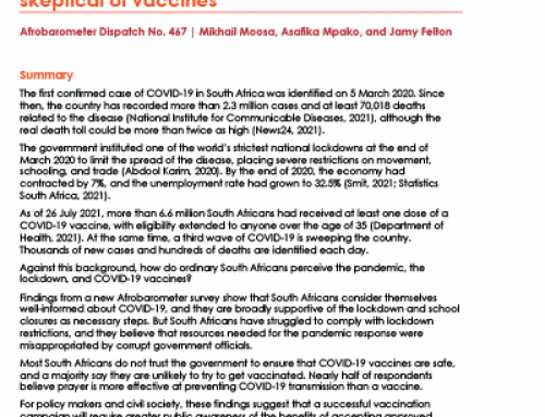 Afrobarometer Dispatch No. 467: South Africans support government's COVID-19 response but are critical of corruption and skeptical of vaccines