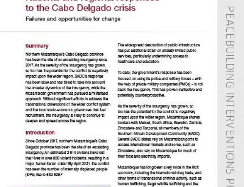 IJR Policy Brief 34: National and regional responses  to the Cabo Delgado crisis